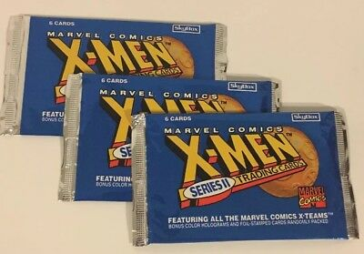 3 Unopened Packs Of X-Men Series II Skybox Trading Cards 1993 - 6 Cards In Each!