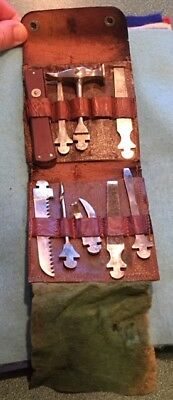 Early German Pocket Tool Kit by EBRUDER, GS, Germany, 9 Pieces with Case