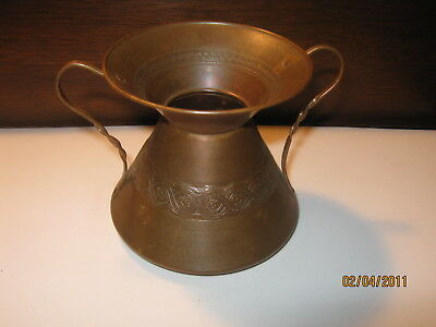 "2 Vintage Arts & Crafts Copper 3"" & 4""  Double Handled Round Bottom Vase or Jug"