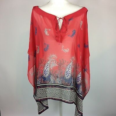 Lane Bryant Red Blue Paisley Tassel Sheer Blouse Womens Plus Size 14/16