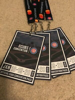 1 Chicago Cubs Convention Tickets 18-20 January Sheraton Grand Chicago Pass 2019