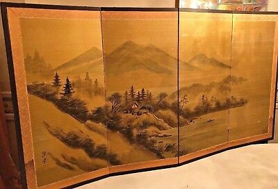 Vintage Japanese Chinese 4 Panel Folding Screen Painted