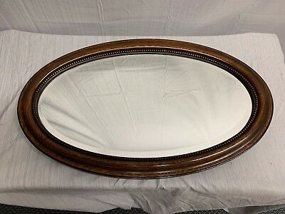 Gorgeous Antique Victorian Grey Blue Painted Wood Gesso Oval Beveled Mirror Mirrors