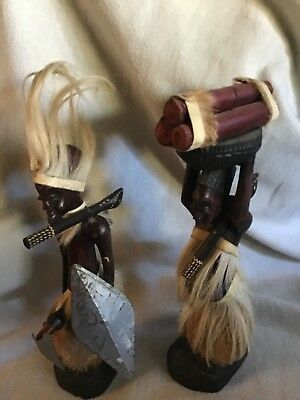 VINTAGE African Art Carved wood Sculptures MAN AND WOMAN Figures