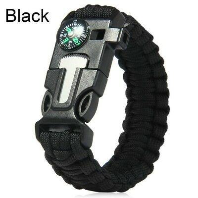 5 in 1 Survival Paracord Bracelet Flint Fire Starter Whistle Compass EDC Tool