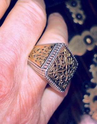 Gerochristo Oversized Man's Ring, Sterling & 18K Gold, Byzantine Style,mint! Sz9