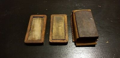 Vintage Oil Sharpening Stone In Wooden Box And Leather Holder
