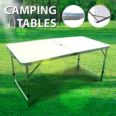 Aluminium Adjustable Camping Table Folding Portable Picnic Garden Patio Outdoor