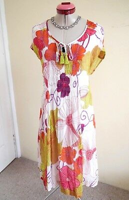 VIRTUELLE White Pink Green DRESS Size 14 Floral Lined Red Orange TAKING SHAPE