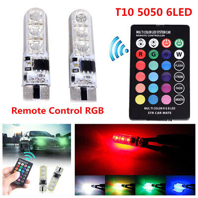 2x T10 6SMD 5050 RGB LED Car Wedge Side Light Reading Lamp Bulb & Remote FO