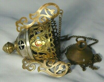 Antiques Censer Lampatka Icon Lamp Imperial Russia 1890 Orthodox Brass