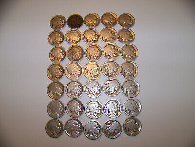 Old American Buffalo Nickels (10 Coin Lot) Full Date Coins