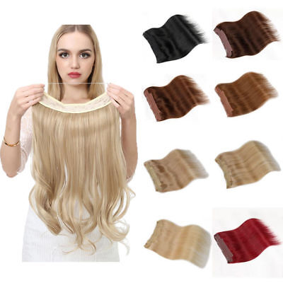 """100% Remy Human Hair Extension Full Head 16""""18""""20""""Hidden Halo Wire Flip Clip In"""