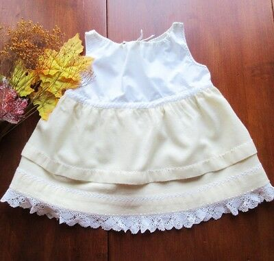 Antique Baby Girl's - Slip White Cotton Embroidered Yellow Wool Flannel Scotland