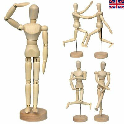 Wooden Manikin Human Figure Artist Draw Painting Model Mannequin Jointed Doll UK