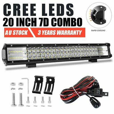 20 inch 7D Tri-row CREE LED Work Light Bar Spot Flood Offroad Driving + Wiring