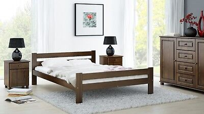 3ft Single 4ft Small Double Wooden Bed Frame with Slats solid Pinewood walnut