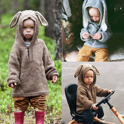 Lovely Kids Baby Boys Girls Rabbit Knitted Sweater Coats Pullovers Crochet Tops