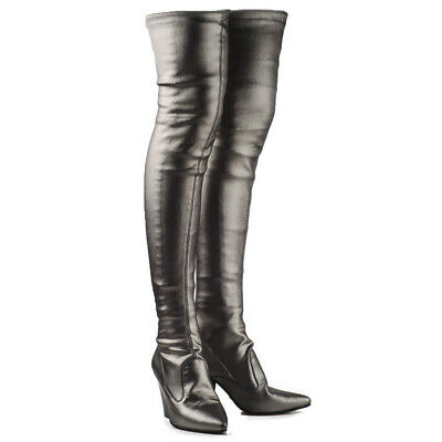 new products 3f5b5 de2d8 BUFFALO SALE DAMEN Overknee Stiefel Stretch Boots Langschaft Silber Plomo  BB2022