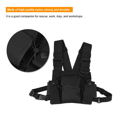3 Pocket Chest Pack Bag Harness Nylon for Motorola Baofeng Walkie Talkie Radio