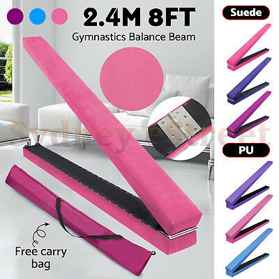 2.4m 8FT Gymnastics Folding Balance Beam Training Synthetic Suede / PU Leather