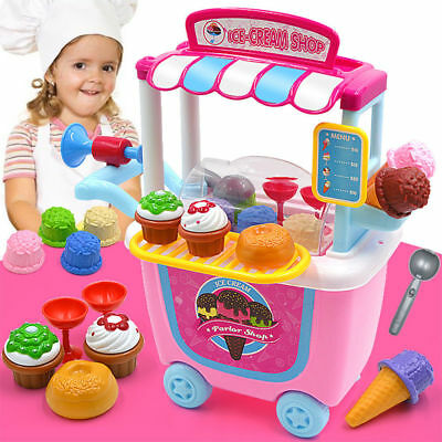 Ice Cream Cart Shop Toy Pretend Play Set with Horn Girls Kids Fun Games Toy UK