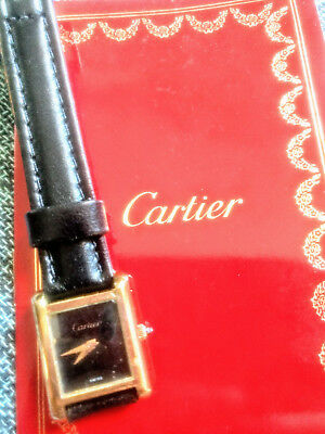 CARTIER TANK, antique Swiss wristwatch, manual rope movement, plaque d'or box,ru