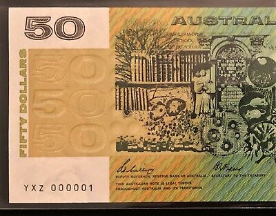 $50 Note ** NUMBER ONE SERIAL ** YXZ 000001 ** 1989 Phillips/Fraser ** vUNC/UNC