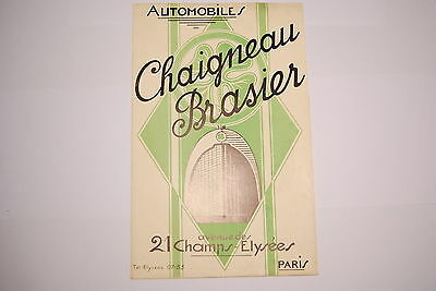 Catalogue / Brochure Automobiles Chaigneau Brasier Paris Avec Tarif D'epoque
