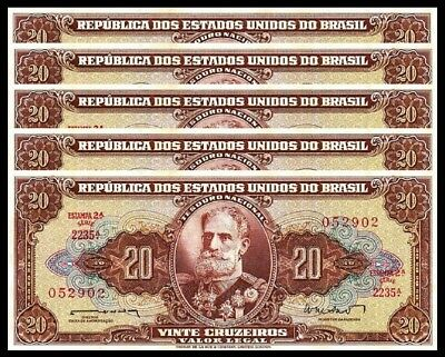 Brazil 20 Cruzeiros 1962 Unc 5 Pcs Consecutive Lot  P-178  With  Little Tone