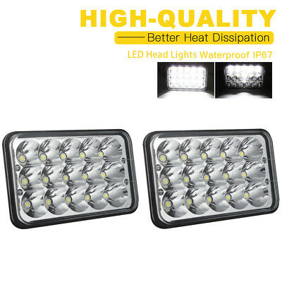 DOT Approved 2pc 4x6 LED Headlights For Kenworth T800 T600 Classic 120/132 W900B
