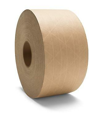 """Water Activated Brown Reinforced Gummed Tape 3"""" x 450' Economy Grade 70 Rolls"""