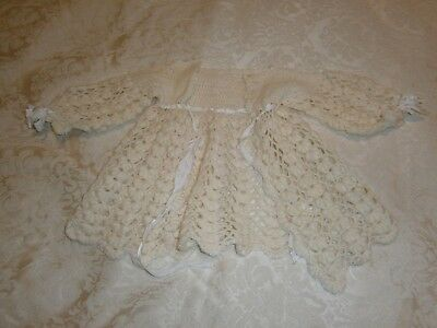 Vintage Cream Baby Jacket Handmade Crocheted/knitted Wool - Great For Dolls