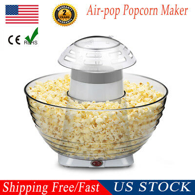 US Portable Hot Air Popcorn Popper Quick Maker Machine Snack Home Party w/Bowls