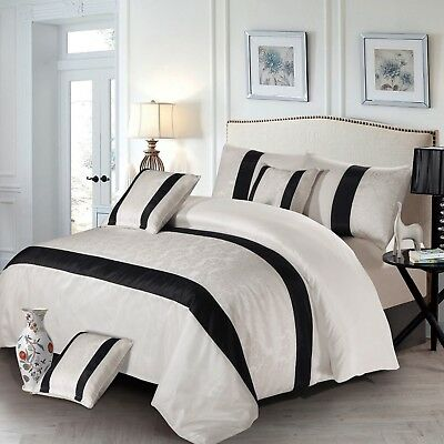 3 Piece Faux Silk White & Black King Size Quilted Bedspread With 2 Pillow Cases