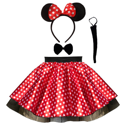 """Ladies SATIN MINNIE MOUSE Style Costume Fancy Dress 12"""" length SKIRT AND EAR SET"""