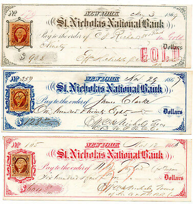 3x Check St Nicholas Bank New York Internal Revenue Stamps 1866 - 1869