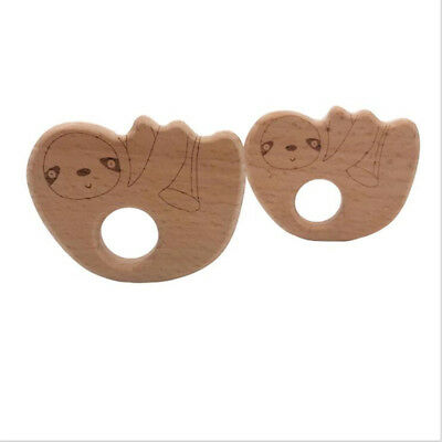 DIY Chew Appease Accessories Sloth Shaped Wood Teether Baby Teething Care Toy BS
