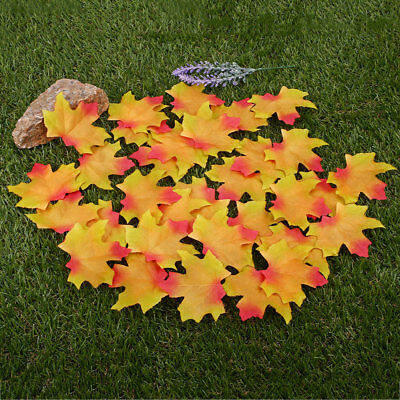 C884 50Pcs Artificial Maple Leaves Leaf Home Wedding Party Decoration Vivid