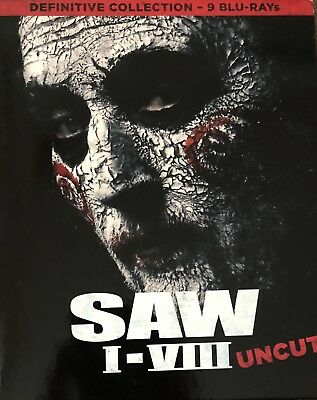 SAW Blu Ray, COMPLETE BOX, DEFINITIVE COLLECTION, 9 BLU RAY's, UNCUT, NEW !!!