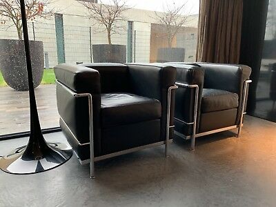 ORIGINAL CASSINA LE Corbusier LC2 Sessel in Leder schwarz Chrom LC 2 ...