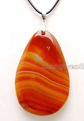 """SALE Big 40*60mm Red Drop Natural Striped Agate pendant 17 to 19"""" necklace-n5951"""