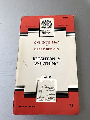 "Ordnance Survey Map - 1"" / 1 mile - Brighton & Worthing"
