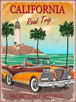 California Road Trip Pacific Coast Highway United States Travel Art Poster Print