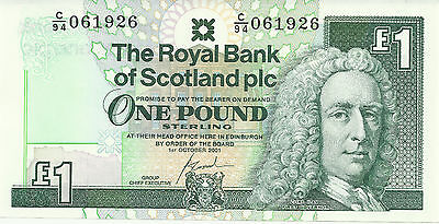 Rare £1 One Pound Scottish Bank Notes Uncirculated Royal Bank of Scotland