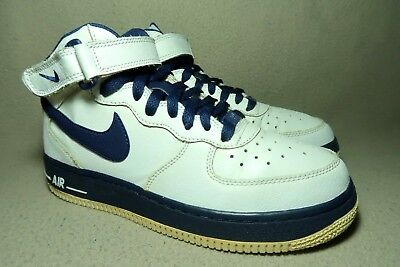 ce9724ac04 NIKE AIR FORCE 1 MID Junior White/Obsidian Leather Hi-Top Trainers UK 5