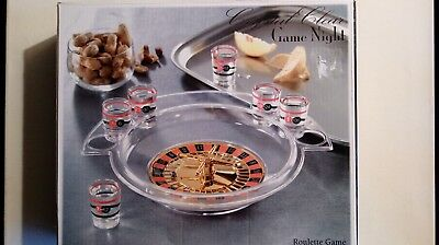 Crystal Clear Game Night Drinking Roulette Game 9 pc Set  NIB