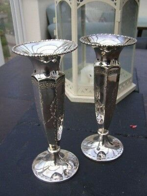 Antique ( Edwardian) Pair of Beautifully Shaped Art Nouveau  Plated  Vases 8""
