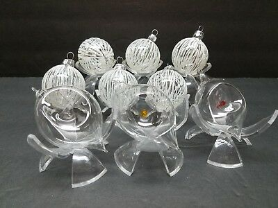 Vintage Glass Christmas Tree Ornament Lot Bauble Clear Ball Indent Teardrop Snow