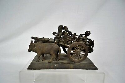 Antique Metal Display Ornament Oxcart Musicians Figurines